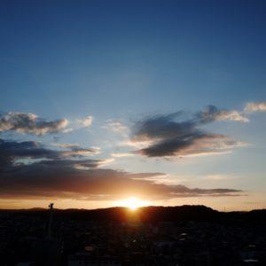 日の入り、夕日、夕陽、空