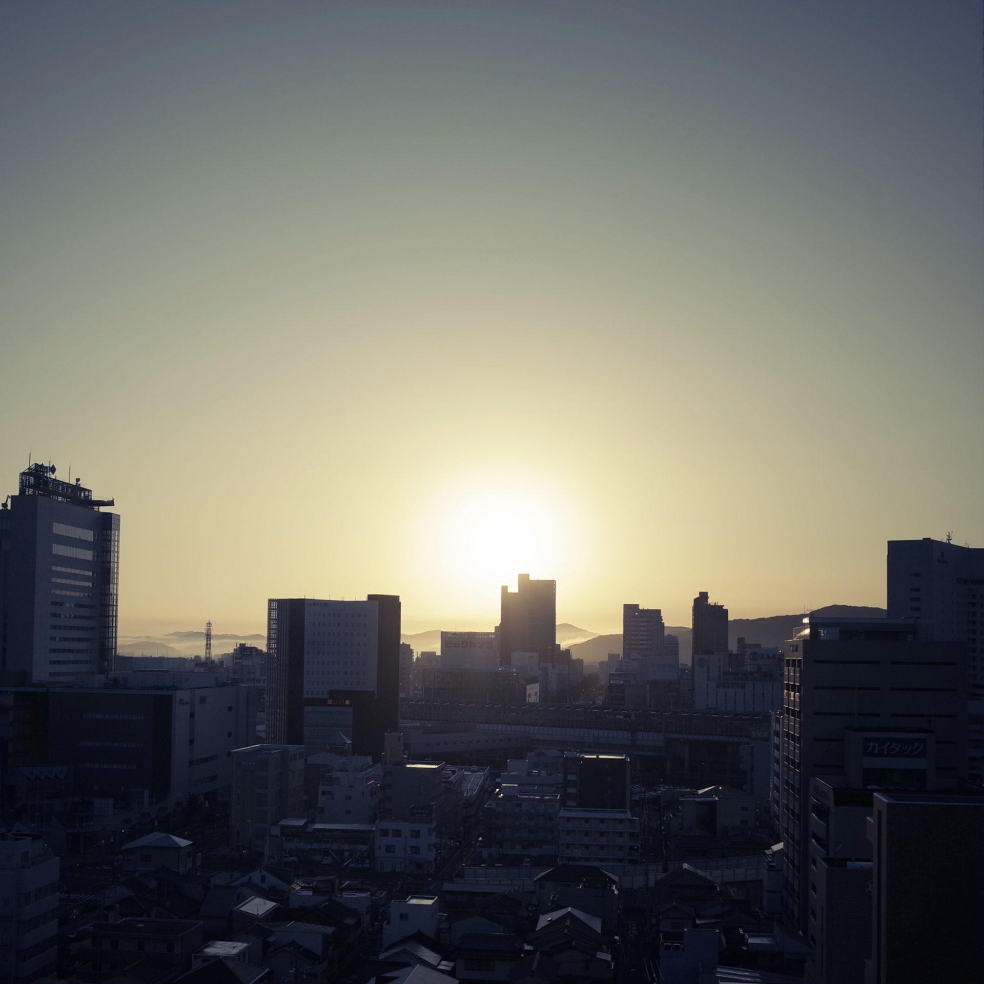 朝、日の出、空