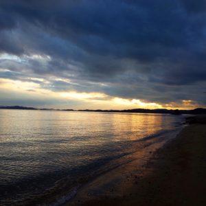 夕日、夕陽、瀬戸内海