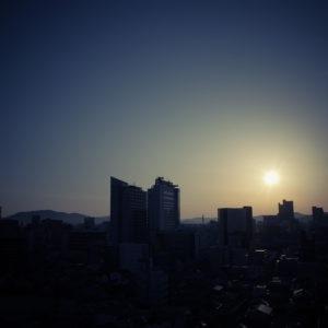 岡山、朝日、朝、日の出